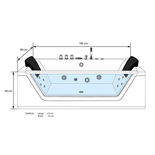 AcquaVapore Whirlpool Pool Badewanne Wanne A1813NA mit Reinigungsfunktion 90×185, Selfclean:aktive Schlauch-Reinigung +70.-EUR - 5