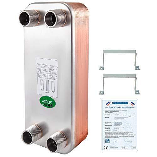 VEVOR Intercambiador de Calor de Placas Soldadas Intercambiador de Calor de 20 Placas para Calefacción Adecuado para Industria HVAC Industria Láctea/Alimentos/Bebidas, Industria de Refrigeración