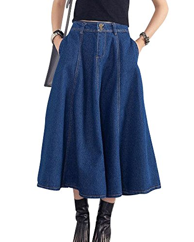 ZhuiKun Falda Vaquera Mujer Falda de Mezclilla Faldas Plisada Largas de Fiesta Azul Marino M