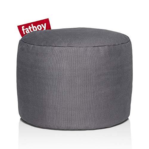 Fatboy® Point Stonewashed grau Hocker | Runder Sitzhocker aus Baumwolle | Trendiger Poef/Fußbank/Beistelltisch | 35 x ø 50 cm