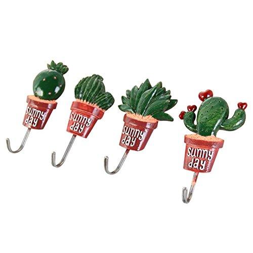Fdit wandhaken cactus, decoratief, zelfklevend, kunststof, voor het ophangen van mantels, schaaltjes, doeken en meer, veelkleurig