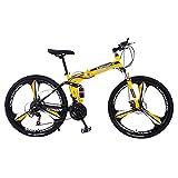 Fitfulvan 26in Carbon Steel Mountain Bike 21 Speed Bicycle Full Suspension MTB Folding Mountain Bike, Yellow