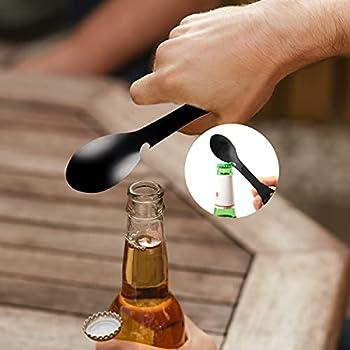 LuLiyLdJ Cuillère à fourchette multifonctionnelle en acier inoxydable ouvre-boîte portable, adapté pour le camping, les voyages, la randonnée, les activités de plein air