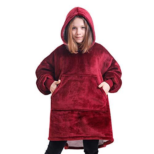 MYYINGELE Niño Sudadera de Manta, Sudadera con Capucha Sherpa Usable con Big Pocket, Pijama Pullover Jumper Albornoz Talla única para Todos, Wine Red
