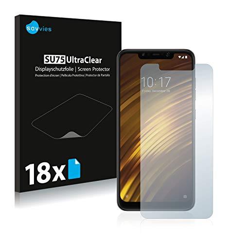 savvies 18-Pezzi Pellicola Protettiva Compatibile con Xiaomi Pocophone F1 Protezione Schermo Trasparente