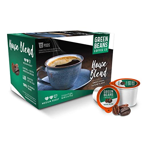 Green Beans Coffee House Blend K-Cup Coffee Pods – 1 Carton (12 Pods, 13 grams each) – Single-Serve Compostable – Keurig Brewer-compatible including 2.0