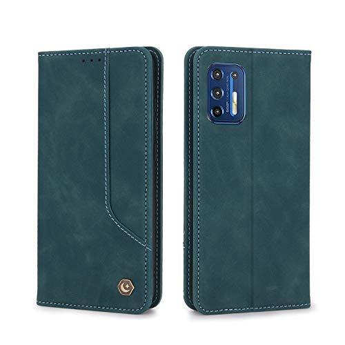 TOPOFU Funda Motorola Moto G9 Plus Funda,Retro Flip Cuero Premium Carcasa con Cierre Magnetico,Card Slot,Stand Función Antigolpes Funda para Motorola Moto G9 Plus-Azul