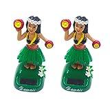 Amosfun Hula Girl Dashboard Dancing bobbleheads Powered Doll Figures- Solar Powered Hawaiian Girl Doll Car Ornaments Hula Girl Shaking Car- Decoration ( Style B, Pink )