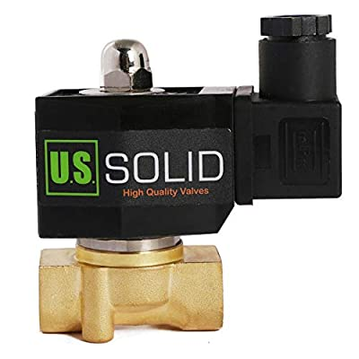 """U.S. Solid 3/8"""" Brass Electric Solenoid Valve 12V DC Normally Closed VITON Air Water Oil Fuel from U.S. SOLID"""