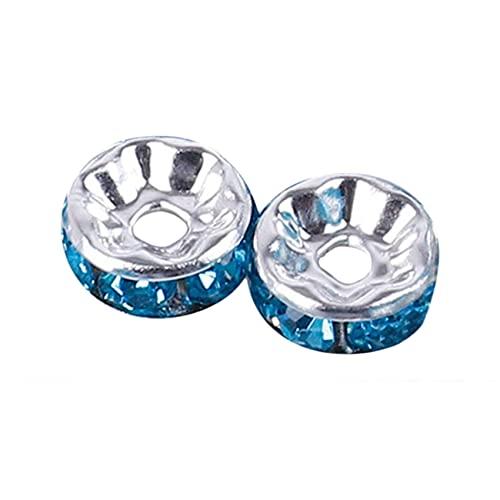 ZSDFW Cuentas de cristal de 6 mm para hacer joyas con diamantes de imitación de cristal para pulsera de bricolaje y pendientes, con incrustaciones de plata azul cielo