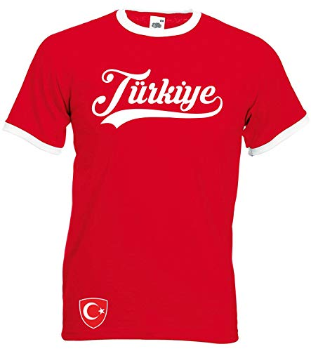 Aprom-Sports Türkei Ringer Retro TS WM EM Soccer T-Shirt Trikot Look , XL, Rot
