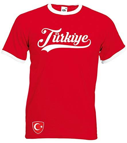 Aprom-Sports TürkeRinger Retro TS WM EM Soccer T-Shirt Trikot Look, M, Rot