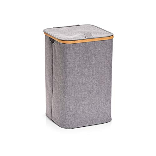 Zeller Panier à Linge Polyester/Bamboo Gris, Polyester, Gris, 33 x 33 x 50 cm