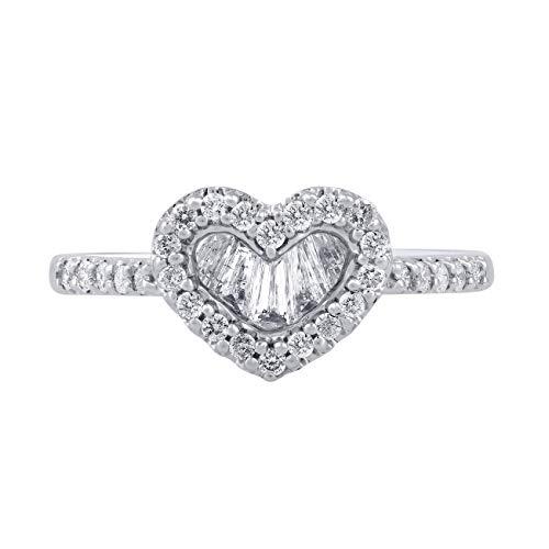 TJD Anillo de Diamante de Medio quilate Oro Blanco Diamante Anillo Natural 10k (j-k Color, claridad i1-i2) en Forma de corazón