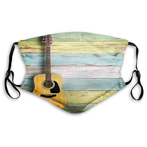 Gesichtsschutzhülle,Gesichtsdekoration,Gesichtsschal,Musik Akustikgitarre Auf Bunt Bemalten Gealterten Holzbrettern Rustikaler Country-Design-Druck Gelbgrün Bandana