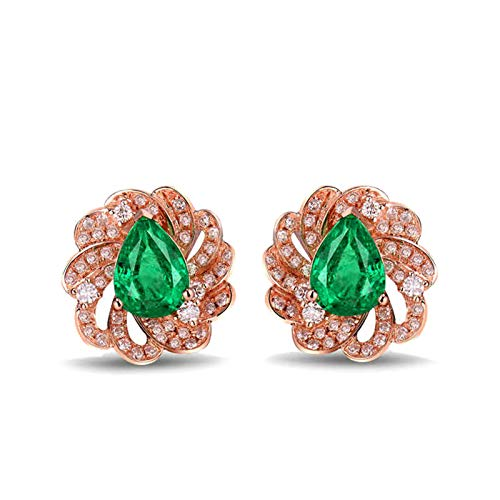 Beydodo Damen Ohrringe 750 Rotgold, Blume mit 1.68ct Smaragd Rosegold Ohrstecker Diamant Allergiefrei