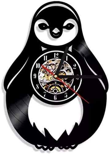 Regalo Reloj de pared de vinilo Reloj de grabación Pingüino Reloj vintage Reloj de cuarzo silencioso Reloj de pared Regalos personalizados hechos a mano para niños y adultos 12 pulgadas con LED-12 pul