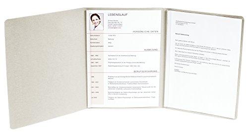 Exacompta 49704B Bewerbungsmappe (vertikale Prägung, 3-teilig mit 2 Klemmschienen Kapazität, 30 Blatt, aus Manila-Leinen-Karton, 400 g, Nature Future, DIN A4) elfenbein