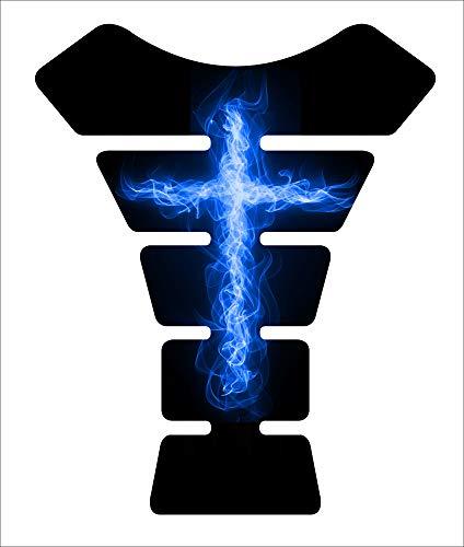 Motorcycle sportbike fire cross Blue christian christ Jesus 3d Gel Gas tank pad tankpad protector