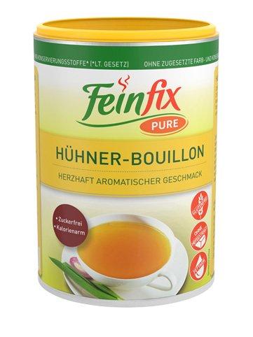 Feinfix Pure Hühner Boullion 225g für 9 Liter Suppen-Brühe   Suppenbrühe ohne Konservierungsstoffe   Suppen Hühnerbrühe glutenfrei   Suppe aus Hühnerfleischextrakt Kalorienarm kochen   6O-YO5C-66WT