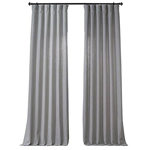 HPD Half Price Drapes FHLCH-VET13197-84 Heavy Faux Linen Curtain (1 Panel), 50 X 84, Ash Grey