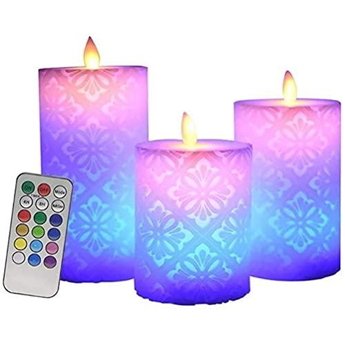 Luz de velas LED, 3 piezas de luz de vela sin llama LED con control remoto de 18 teclas, funciona con pilas, cambia de color, temporizador de 4/8 H, luces de decoración para Halloween, Navidad, fiesta