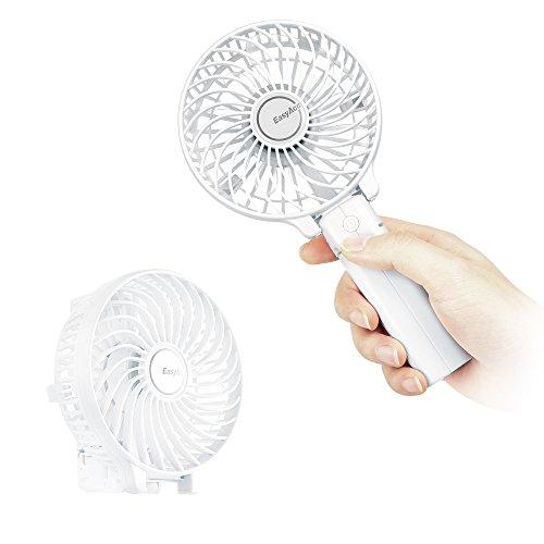 EasyAcc 携帯扇風機 ハンディファン 小型扇風機 USB充電 PSE認証 24ヶ月品質保証 6枚羽大風量 3段階風量調節 2600mAh 最大10時間作動 折りたたみスタンド機能 持ち運び便利 熱中症対策 オフィス アウトドア 東京オリンピック スポーツ観戦 野外フェス ホワイト
