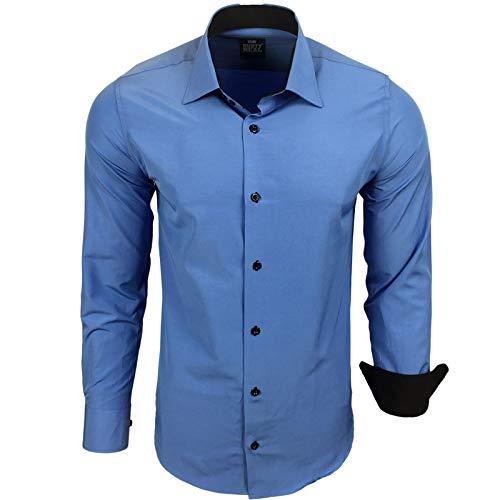 Rusty Neal Herren Hemd Stretch Business Kontrast Hemden Bügelleicht Slim 31 Farben S - 4XL, Größe:XL, Farbe:Blau