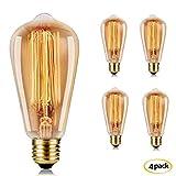ST64 40W E27 Ampoule Edison à Incandescence Vintage 40W 220V Lampe Tungstène Décorative Ampoule Filament Classique Antique Dimmable Retro Light– 4 Pack [Classe énergétique A] …