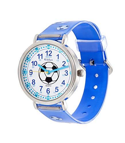 KIDDUS Lern Armbanduhr für Kinder, Jungen und Mädchen. Analoge Armbanduhr mit Zeitlernübungen, japanischen Quarzwerk, gut lesbar, um ganz leicht zu Lernen, die Uhr zu lesen. RE0274 Fußball