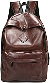 PU leather brown backpack Large capacity travel bag laptop bag casual backpack