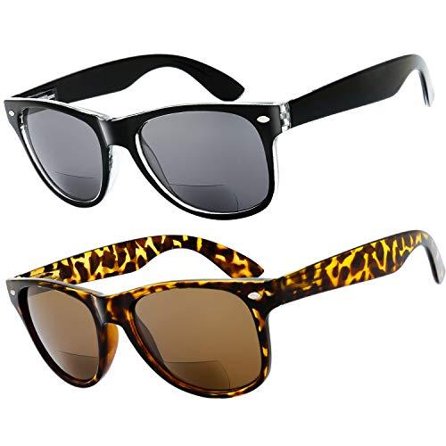 The Fresh Deluxe Bifocal Reading Sunglasses Comfortable Stylish Spring Hinge Sun Readers (Black1 & Demi1, 2.0)