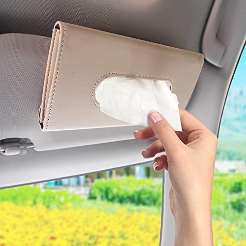 LILALIWA Car Tissue Holder, PU Leather Hanging Paper Towel Box, Auto Napkin Holder Cover Paper Tissue Dispenser for Sun Visor & Backseat Vehicle (Brige)