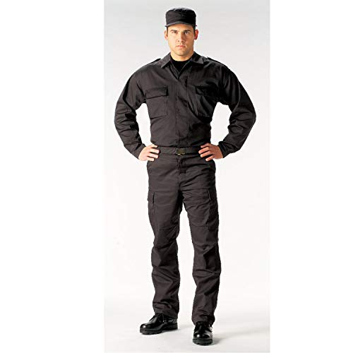 Rothco 2 Pocket BDU Shirt, Black, Medium
