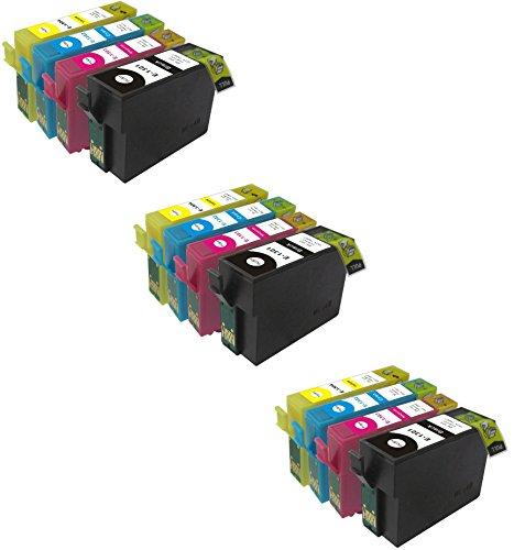 12 XL Compatibile T1301-T1304 (T1306) Cartucce d'inchiostro per Epson Stylus B42WD, BX525WD, BX535WD, BX625FWD, BX630FW, BX635FWD, BX925FWD, BX935FWD, SX525WD, SX535WD, SX620FW & Workforce WF-3010DW, WF-3520DWF, WF-3540DTWF Pro, WF-7015, WF-7515, WF-7525   Alta Capacita