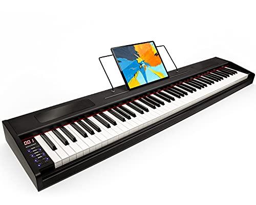 Souidmy G-110W Piano digital para principiantes, teclado semi-pesado de tamaño completo con 88 teclas, teclado portátil con bolsa para guardarlo - Madera