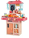ZOUCLOOK ENTERPRISE Kids.36-Piece Kitchen Playset, with Realistic Lights & Sounds, Play Sink with Running Water,Dessert Shelf Toy & Kitchen Accessories Set for 4 Year Old Girls (170-Kitchen Set-multi color)