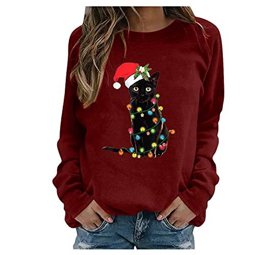 Honestyi Navidad Sudaderas Mujer Sin Capucha Tallas Grandes, Camisetas De Manga Larga con Estampado Gato Sweatshirt Casual De Cuello Redondo Pullover Sueltos Otoño