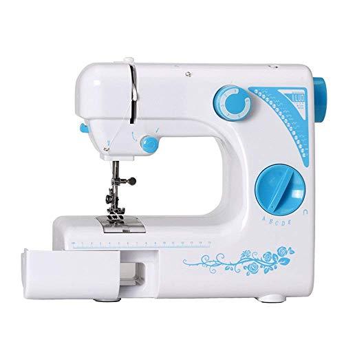 Handheld eléctrico Bordado overlock rápida pequeña máquina de Coser del hogar 19 Cosido Puntada de Coser eléctrica Ma SLONGS (Color : White, Size : One Size)