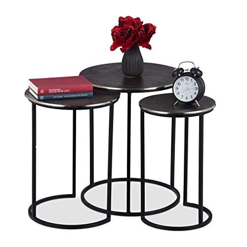 Relaxdays Beistelltisch 3er Set, runde Satztische in Antik-Optik, Gestell, Eisen, Aluminium, H x D: 50,5 x 40,5 cm, grau