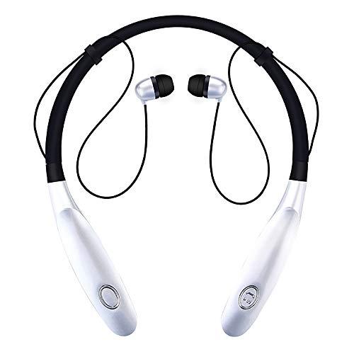 TLgf Wireless Bluetooth-Headset, leichtes Stereo, 20 Stunden Wiedergabezeit, IPX4 wasserdicht, Hals montierte Sportkopfhörer mit eingebauter Rauschreduzierung Mikrofon,Silber