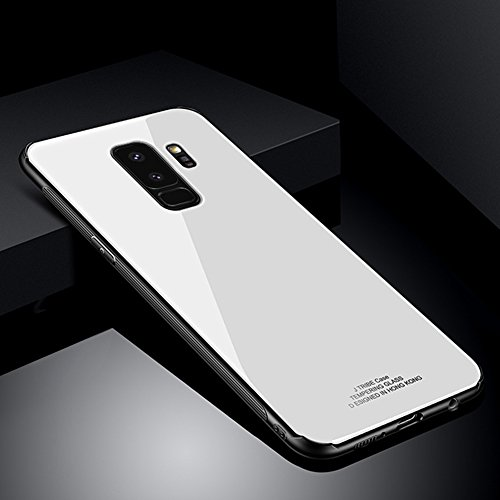 Kompatibel mit Galaxy S9 Hülle,Ultra Hybrid Gehärtetes Glas Rückschale mit Silikon TPU Bumper Schutzhülle TPU Silikon Schutz Handy Hülle Case Tasche Etui Bumper Für Galaxy S9,Weiß
