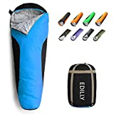 EDILLY Mummy Sleeping Bag, 3-4 Season Warm & Cool Weather, Ultralight Backpacking Sleeping Bags for Adults and Kids Suitable for Camping, Tearproof and Waterproof, for Hiking Traveling, and Outdoors