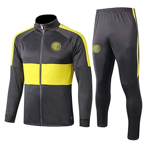 OJN 19-20 Intēr Milan Football Training Anzug, langärmelige Sportbekleidung Trainingsanzug, Outdoor-Sports-Männer lang gezogene Sportbekleidung (S-XXL) Dark Gray-L