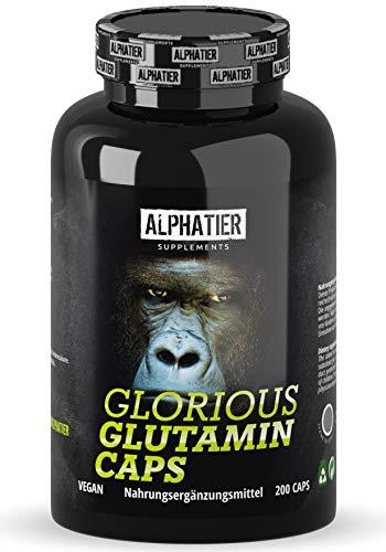 L-GLUTAMINE Kapseln hochdosiert + vegan - 200 Mega Caps - 750mg pure L-Glutamin pro Kapsel - höchste Dosierung - Fitness & Bodybuilding - Alphatier Supplements Glorious Glutamin