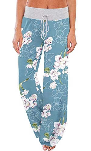 Pantalón De Pijama Lounge para Mujer con Cordón De Pierna Ancha(Floral Azul Claro,Large)