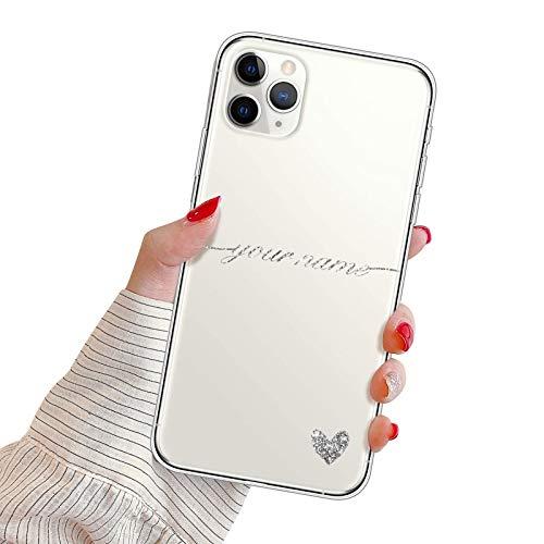 Suhctup Funda Personaliza Compatible con iPhone 5/5S/SE Carcasa de Silicona con Amor y Texto Personablizable TPU Ultrafina Suave Transparente Antigolpes Proteccion Caso(Plata)