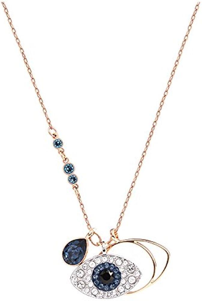 Swarovski collana in metallo placcato oro rosa con pendente duo evil eye 5172560