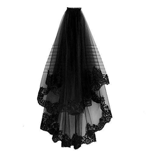 STOBOK Black Bridal Veil with Comb Lace Vintage Gothic Wedding Veil Lace Rose Flower Decoration Veil Bridal Hair Accessory for Wedding Halloween