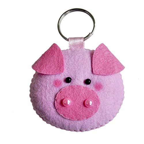Pig Keychain - Animal Keychain - handmade keychain - christmas ornaments - Felt Keychain by Latin Handmade